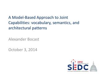 A Model-Based Approach to Joint Capabilities: vocabulary, semantics, and architectural patterns