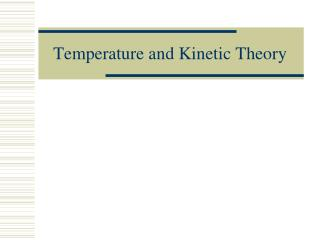 Temperature and Kinetic Theory