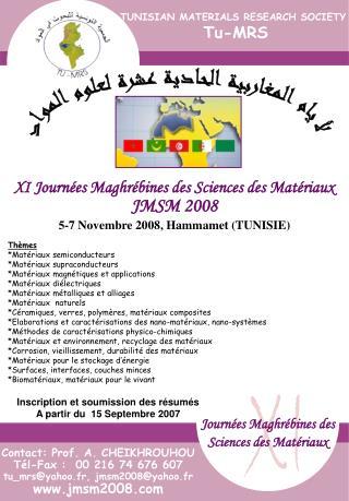 Journées Maghrébines des Sciences des Matériaux