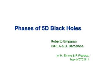 Phases of 5D Black Holes