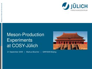 Meson-Production  Experiments at COSY-J�lich