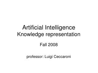 Artificial Intelligence Knowledge representation