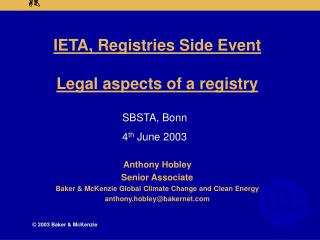 IETA, Registries Side Event Legal aspects of a registry