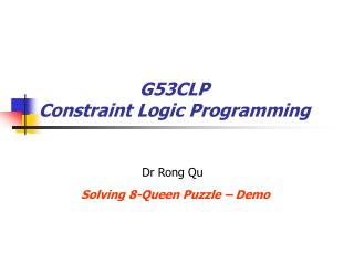 G53CLP Constraint Logic Programming