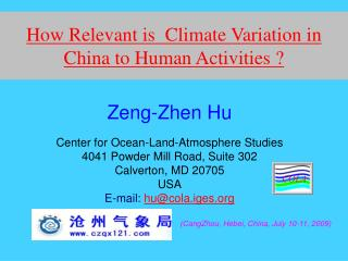 How Relevant is  Climate Variation in  China to Human Activities ?