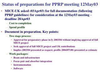 Status of preparations for PPRP meeting 12May03