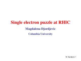 Single electron puzzle at RHIC Magdalena Djordjevic Columbia University
