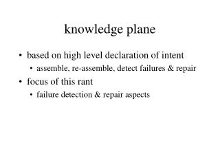 knowledge plane
