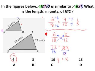 In the figures below,     MNO is  similar to      RST.  What is the length, in units, of  MO?