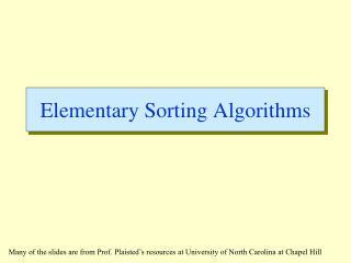 Elementary Sorting Algorithms