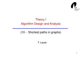 Theory I Algorithm Design and Analysis (10 -  Shortest paths in graphs)