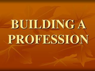 BUILDING A PROFESSION