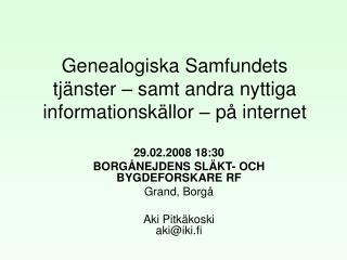 Genealogiska Samfundets tj nster   samt andra nyttiga informationsk llor   p  internet