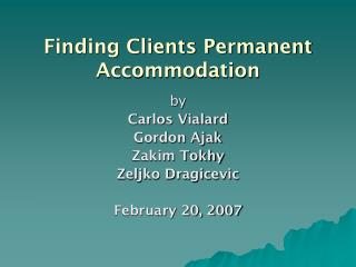 Finding Clients Permanent Accommodation