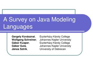 A Survey on Java Modeling Languages