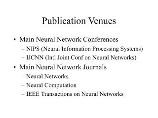 Publication Venues