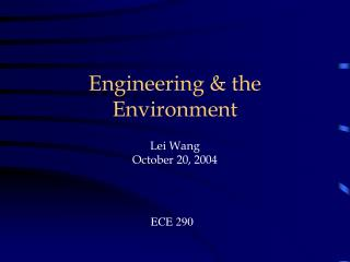 Engineering & the Environment