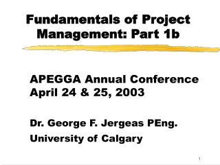 Fundamentals of Project Management: Part 1b