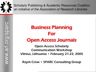 Business Planning For Open Access Journals