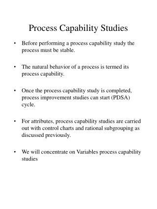 Process Capability Studies