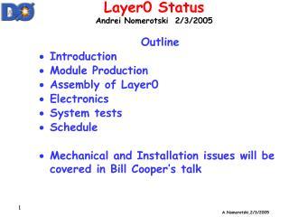 Layer0 Status  Andrei Nomerotski  2/3/2005