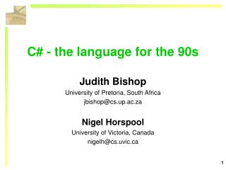 C# - the language for the 90s