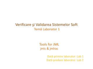 Verificare  şi Validarea Sistemelor Soft  Temă L aborator 1