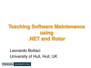Teaching Software Maintenance using  .NET and Rotor