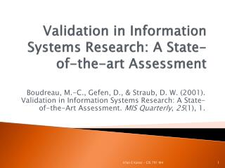 Validation in Information Systems Research: A State-of-the-art Assessment