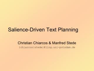 Salience-Driven Text Planning