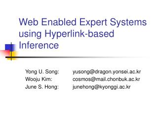 Web Enabled Expert Systems using Hyperlink-based Inference