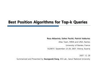 Best Position Algorithms for Top-k Queries
