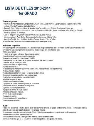 LISTA DE ÚTILES 2013-2014 1er GRADO