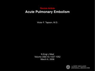Review Article Acute Pulmonary Embolism