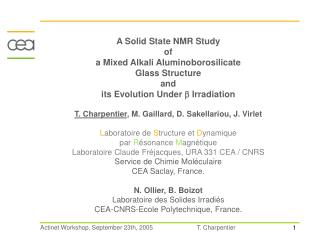 A Solid State NMR Study  of  a Mixed Alkali Aluminoborosilicate  Glass Structure  and