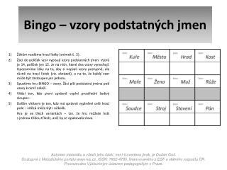 Bingo – vzory podstatných jmen