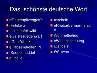 Das  schönste deutsche Wort