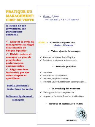 PRATIQUE DU MANAGEMENT:   CHEF DE VENTE