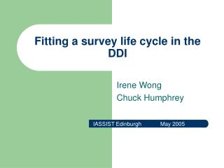 Fitting a survey life cycle in the DDI
