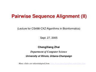Pairwise Sequence Alignment (II)