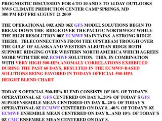 PROGNOSTIC DISCUSSION FOR 6 TO 10 AND 8 TO 14 DAY OUTLOOKS