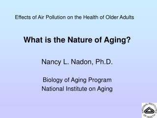 Effects of Air Pollution on the Health of Older Adults