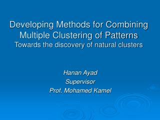 Hanan Ayad Supervisor Prof. Mohamed Kamel