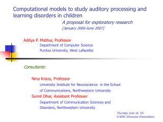 Aditya P. Mathur, Professor Department of Computer Science Purdue University, West Lafayette
