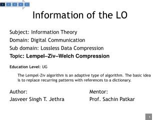 Information of the LO