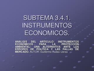 SUBTEMA 3.4.1. INSTRUMENTOS ECONOMICOS.