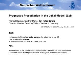 Task: replacement of the  diagnostic scheme  for rain/snow in LM 3.5  by a  prognostic scheme