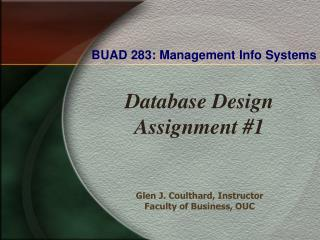 BUAD 283: Management Info Systems