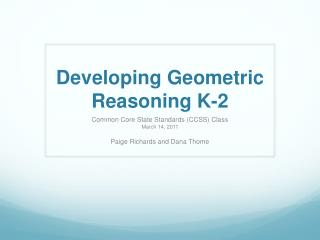 Developing Geometric Reasoning K-2