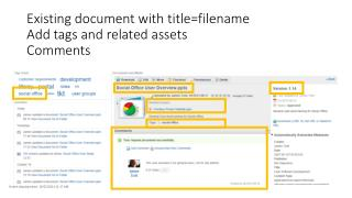 Existing document with title=filename Add tags and related assets Comments